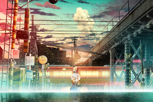 Anime Girl Raining Train Lines Wallpaper