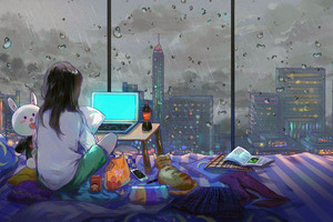 Anime Girl Room City Cat