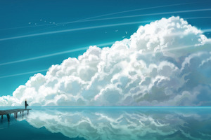 Anime Girl Sea Sky Clouds Landscape Art 4k