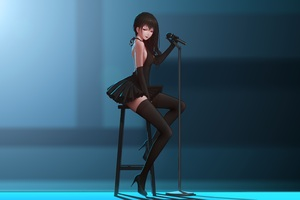 Anime Girl Singing Chair Microphone