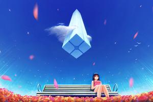 Anime Girl Sitting On Bench 4k