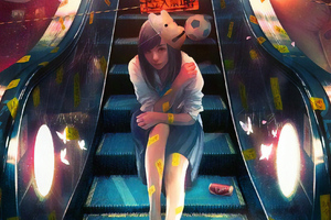 Anime Girl Sitting On Escalator Wallpaper