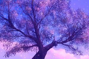 Anime Girl Sitting On Purple Big Tree 4k
