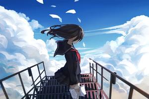 Anime Girl Sky 4k Wallpaper