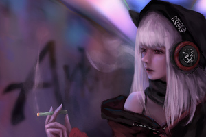 Anime Girl Smoking And Listening Music 8k
