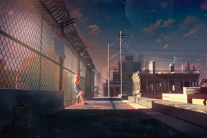Anime Girl Standing Beside Fence 4k