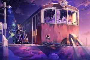 Anime Girl Train Platform 4k