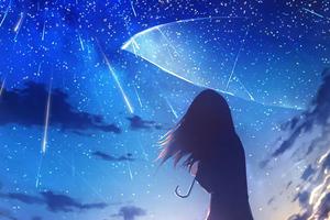 Anime Girl Umbrella Rain 4k Wallpaper