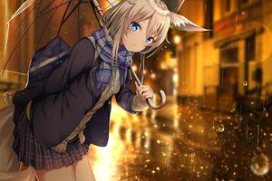 Anime Girl Umbrella Rain
