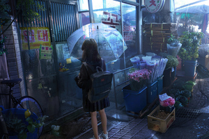 Anime Girl Umbrella Rainy Day 5k