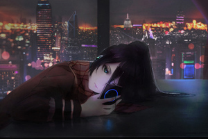 Anime Girl Using Phone