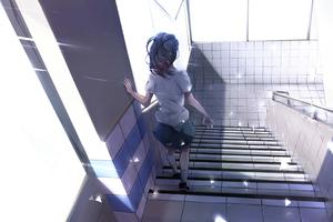 Anime Girl Walking Down Stairs 4k Wallpaper