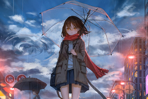 Anime Girl Walking In Rain With Umbrella 4k Wallpaper