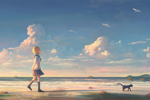Anime Girl Walking On Beach With Cat Wallpaper