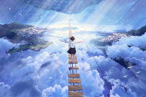 Anime Girl Walking On Dream Bridge 4k Wallpaper