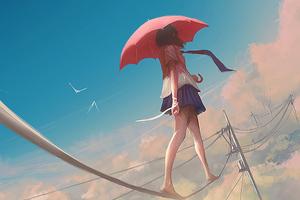 Anime Girl Walking On Power Line