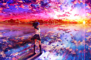 Anime Girl Walking Towards Light 4k