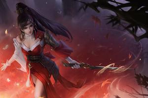 Anime Girl Warrior With Sword 4k Wallpaper