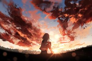 Anime Girl Watching Sunset 4k Wallpaper