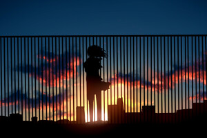Anime Girl Watching Sunset Fence 4k