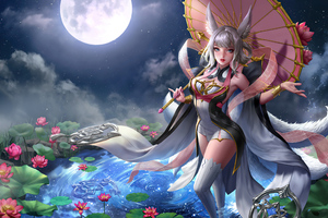 Anime Girl Water Lilies Moon 4k Wallpaper