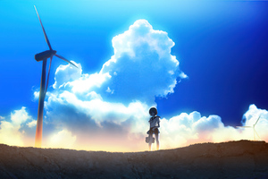 Anime Girl Windmill Landscape 4k Wallpaper