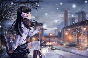 Anime Girl Winter Night 5k Wallpaper