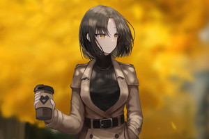 Anime Girl With Coffee Mug 5k Wallpaper