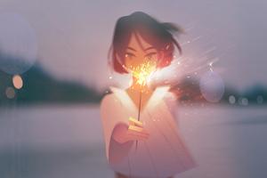 Anime Girl With Firework Wallpaper