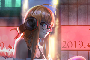 Anime Girl With Headphones Art