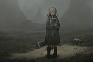 Anime Girl With Old Computer Desktop Walking 5k Wallpaper