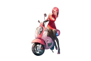 Anime Girl With Red Scooty