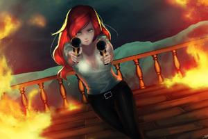 Anime Girl With Two Guns Firing