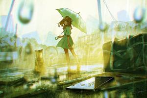 Anime Girl With Umbrella In Rain Wallpaper