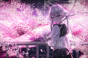 Anime Girl With Umbrella Outdoors Looking Back 5k