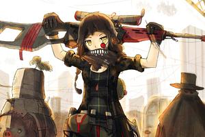 Anime Girls Artwork Sniper Rifle Original Character 4k