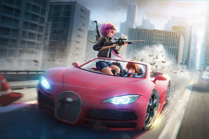 Anime Girls Car Chase 4k