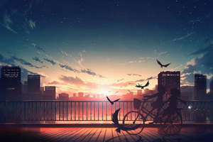 Anime Girls Joy Time On Bike 5k Wallpaper