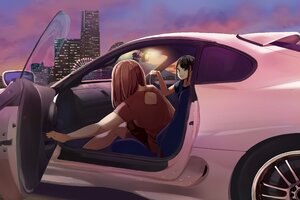 Anime Girls Sitting In Car 4k