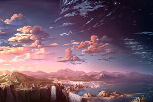 Anime Landscape Waterfall Cloud 5k Wallpaper