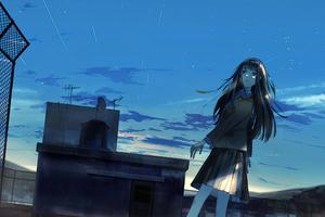 Anime Original Girl Rooftop Evening Time 4k Wallpaper
