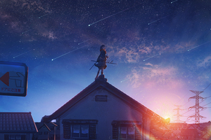 Anime Original Girl Shooting Star Wallpaper