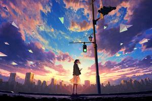Anime Original Girl Traffic Light 4k Wallpaper