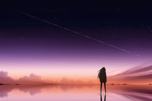 Anime Pink Sky Standing Alone