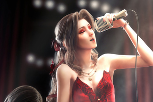 Anime Red Dress Girl Singing Wallpaper