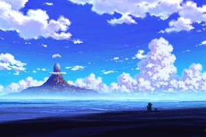 Anime Scenery Sitting 4k Wallpaper
