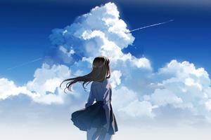 Anime School Girl Watching Clear Sky Wallpaper