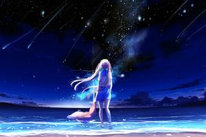 Animegirl Night Sea Stars Fantasy