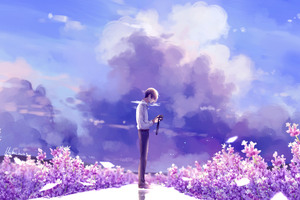 Animeguy Animemanga Clouds Digital Flowers Illustration Lavender Wallpaper