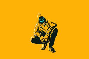 Anonmyus Boy Yellow Minimal 4k Wallpaper